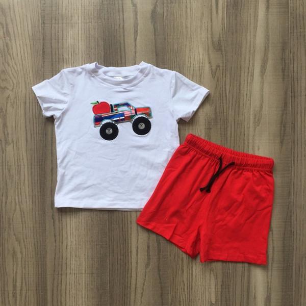2019 yeni gelenler yaz erkek bebek okula geri apple ekose kamyon kırmızı şort pamuk butik setleri kıyafetler çocuk giyim ço ...