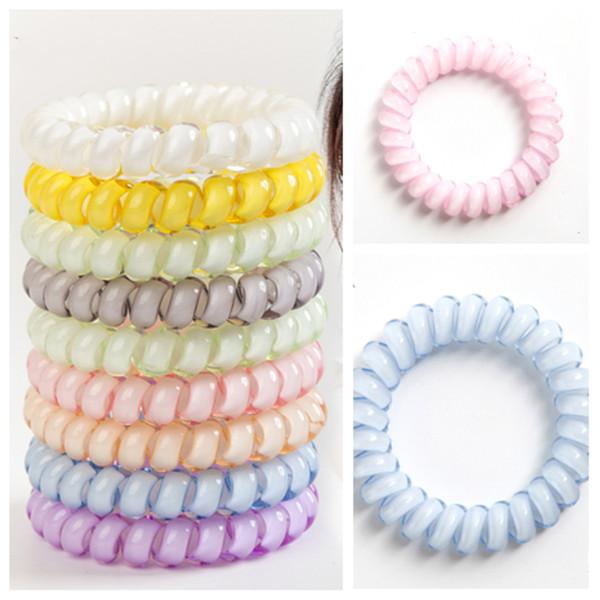 Sıcak 26 renkler Telefon Tel Kordon Sakız Saç Kravat 6.5 cm Kızlar Elastik HairBand Yüzük Halat Şeker Renk Bilezik Saç Aksesuarları T2C5049