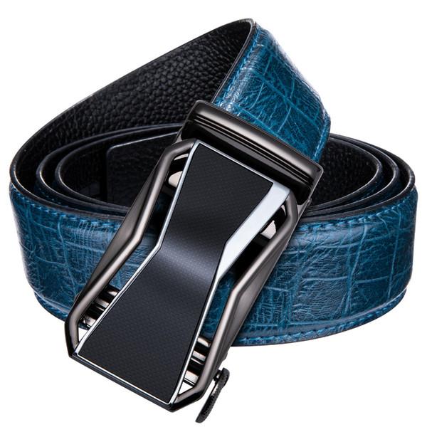 Кожаный пояс для мужчин 100% Real воловьей Мужские пояса Синий ремень Лучшие качества Автоматическая пряжка Мужчина для бизнеса DK-2037