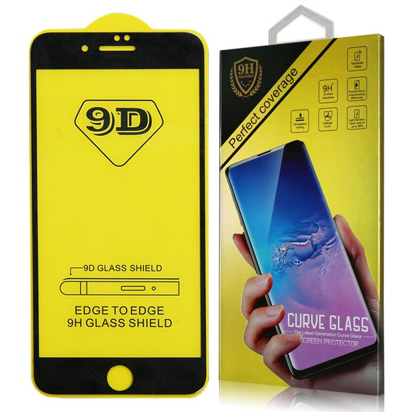 9D Full Cover Tempered Glass For iPhone 8 7 6 Plus Full Glue Screen Protector For iPhone X XR XS Max Protector Film With Retail Package