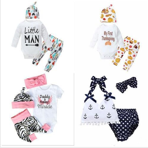 Sequins Jumpsuits Baby Three-piece Clothing Sets Baby Rompers Children for Boys Girls Pants Shorts Hairband Hats Tops YSY187