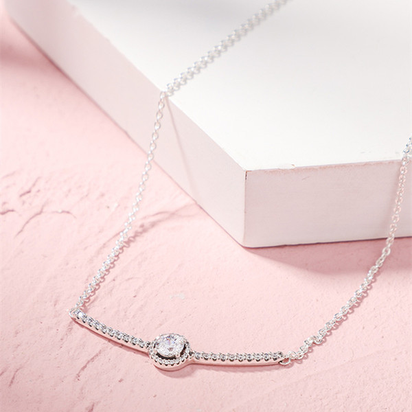 2019 Winter Christmas Gift Round Sparkling Bar Necklace 925 Sterling Silver Jewelry chain Necklaces For Woman silver 925 Jewelry
