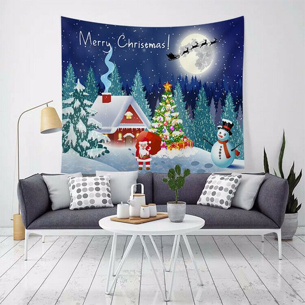 Fashion Home Textile Christmas Tapestry Wall Hanging Curtain Blanket Xmas Santa Art Party Home Decor