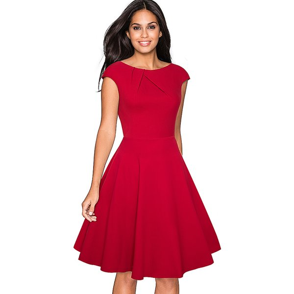 Women Elegant Summer Solid Color Ruched Cap Sleeve Casual Wear To Work Office Party Fitted Skater A-line Swing Dress Ea067 Q190511