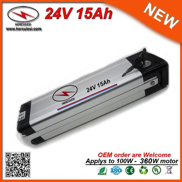 Cheap Price 360W 24V Li-ion Battery 15Ah with silver fish aluminum case for Electric Bike Bicycle + Charger FREE SHIPPING