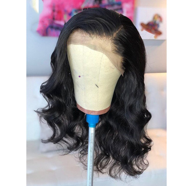 Hot Popular 18inch Black Body Wave Hair Natural Hairline Glueless Synthetic Lace Front Wigs Side Part Heat Resistant Full Wigs for Women