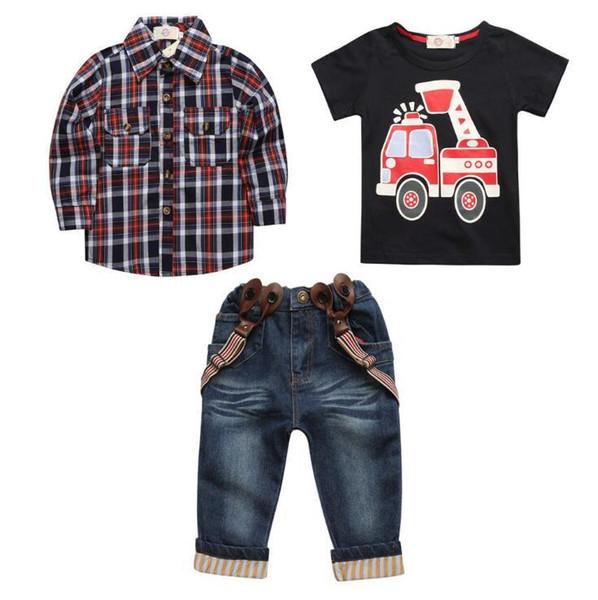 Nuovo 2019 INS Neonati maschietti Lettera Sets Top T-shirt + Pants 3 Bambini Toddler Infant Casual manica corta Adatta abiti estivi Vestiti