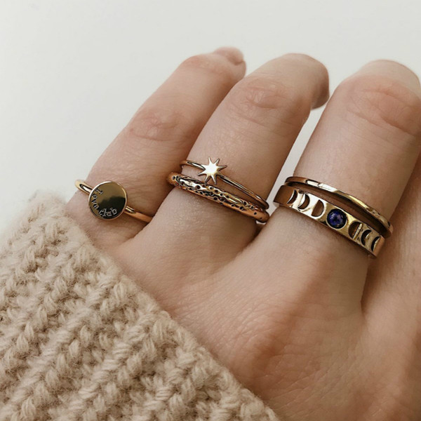 New Ring Popular Fashion Simple Retro Star Letters Rings For Women Combination Simple Elegant Jewelry Ring Set Wholesale