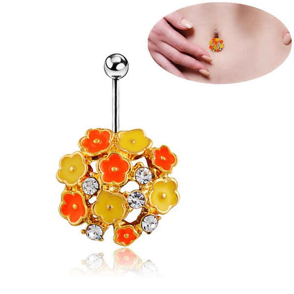 Flower Navel Belly Button Bar Ring Barbell Lip Ear Crystal Ball Body Piercing Woman Sexy Body Jewelry