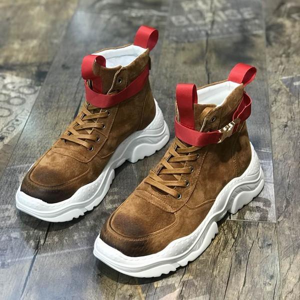 ERRFC Classic Fashion Mens Brown Casual Comfort Shoes ROund Toe Lace Up Black Trending Leisure Shoes Man Platform Buckle 38-43