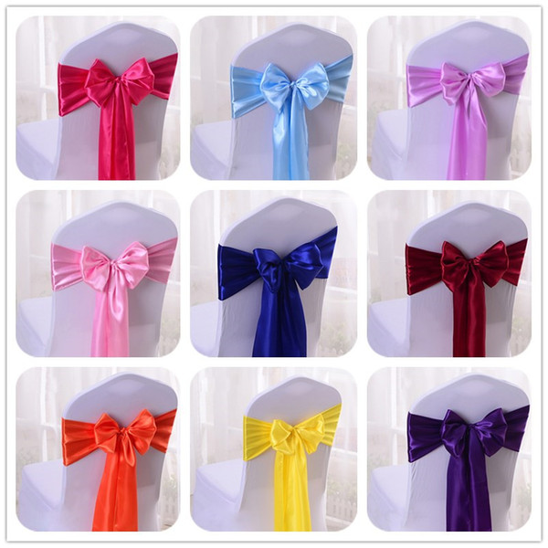 WedFavor 25pcs Satin Chair Bow Sashes Wedding Chair Cover Ribbon Butterfly Ties For Party Event Hotel Banquet Decoration