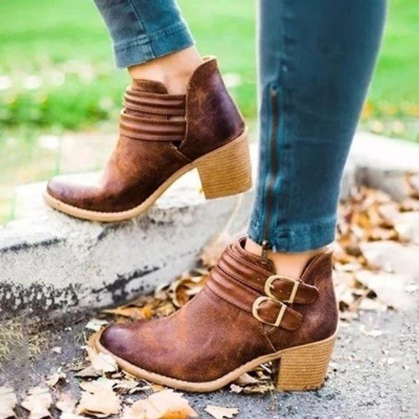 Kadın Boots Moda Günlük Lady Ayakkabı Martins Çizme Deri Toka Boots Yüksek topuklu Fermuar Kar Ayakkabı Zapatos De Mujer