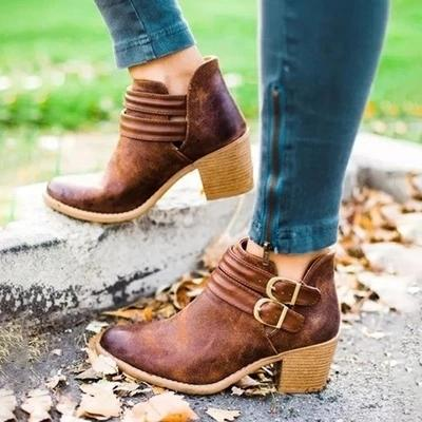 Bottes Femmes Mode Casual Chaussures Lady Martins Bottes cuir Boucle talons hauts Zipper Chaussures de neige Zapatos De Mujer