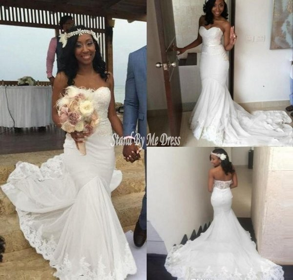 Simple White Beach 2019 Wedding Dresses Sweetheart Lace And Chiffon Mermaid Summer Bridal Gowns Sweep Train African Cheap Wedding Dress