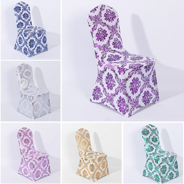 Print gold Spandex chair cover wedding chair covers lycra stretch elastic seat cover chair decoration party hotel show universal thick