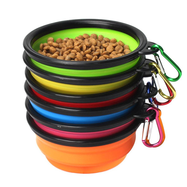 top popular 2020 Hot Travel Collapsible Pet Dog Cat Accessories Feeding Bowl Water Dish Feeder Silicone Foldable 6 Colors Dog Bowl To Choose 2021