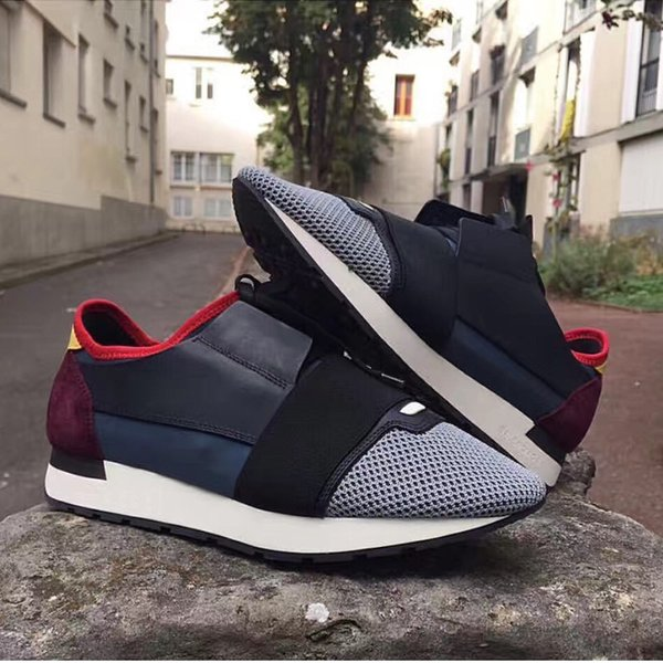 Name Brand Shoe Man Casual Race Runner Shoes Woman Comfortable Pointed Toe Low Cut New Color Mesh Trainer Shoes Size 35-46L03
