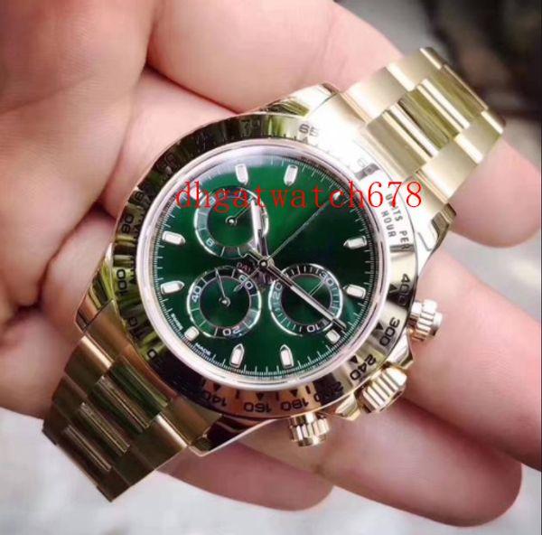 Di lusso degli uomini 40 millimetri sport 116508 18k No ChronographYellow GoldGreen quadrante Bracciale in acciaio inossidabile Lunetta automatico Mens Watch Watches