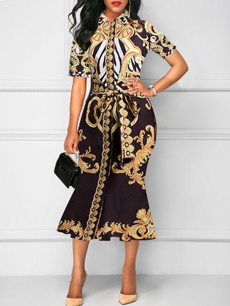 Vestido de impresión de solapa paquete de nalgas en longuette