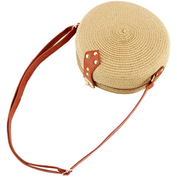 NEW-Women Summer Round Straw Shoulder Bags Rattan Bag Handwoven Beach Crossbody(Light Brown)