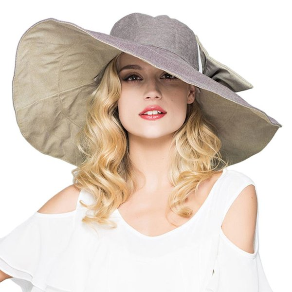 acda11bf Womens UPF 50+ Foldable Floppy Reversible Ultra Large Wide Brim Beach Sun  Hat Contrast Color
