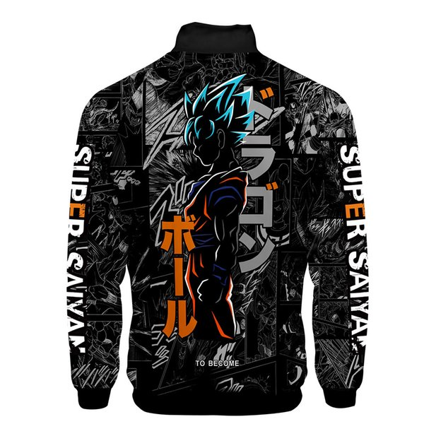 New 3d Anime Goku Jacket Men Women Harajuku Hot Sale Style Hoodies Casual Stand Collar 3D Zipper Sweatshirt Tops