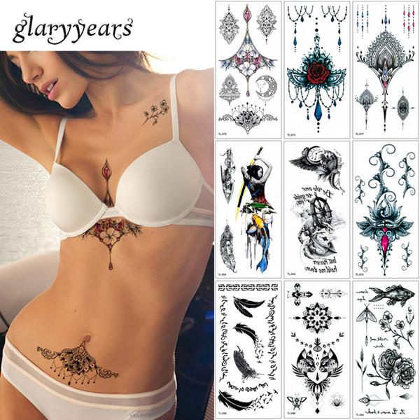 Glaryyears 25 Modèles 1 Feuille Femmes Bijoux Tatouage WST-TL Temporaire Corps Poitrine Taille Art Tatouage Autocollant Cool Sexy Pendentif Ras Du Cou
