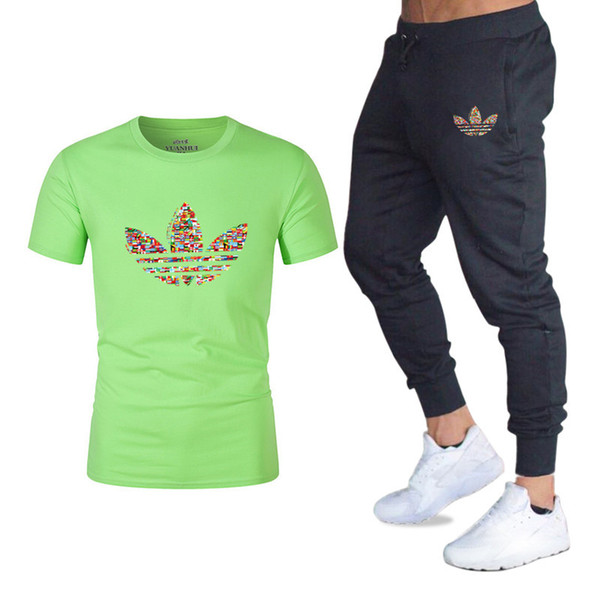 Summer New Men's Casual Short Sleeve Suit Male Slim Trousers Two Piece T-shirt Men's Pants 2 Pcs Set Trending Style