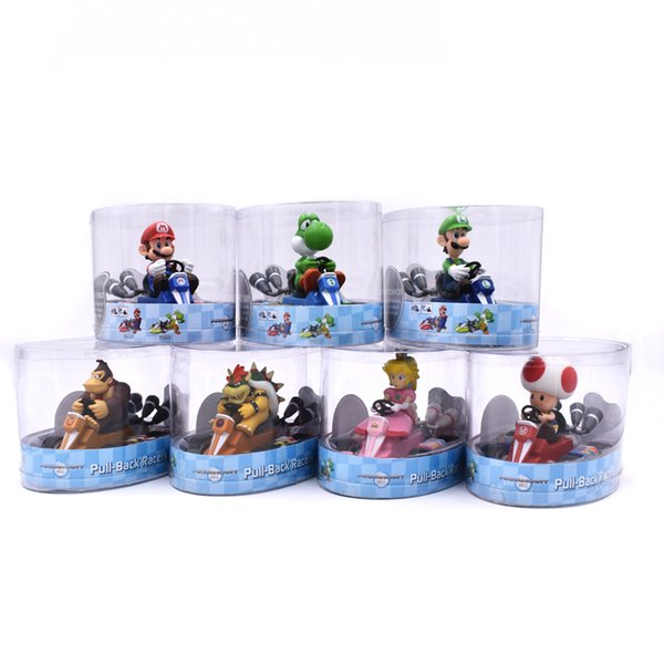 Super Mario Bros Figures Japan Anime Luigi Dinosaurs Donkey Kong Bowser Kart Pull Back Car Pvc Figma Kids Hot Toys for Boys Wholesale