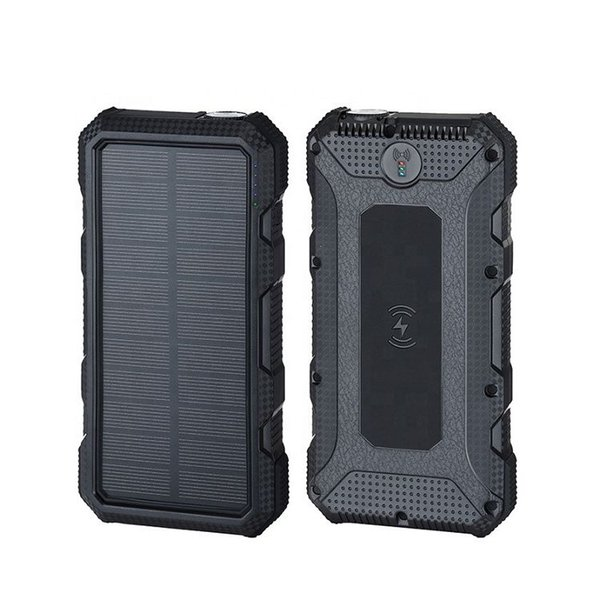 solar energy wireless fast charging power bank 20000mAh 10W emergency flashlight with SOS help flash alarm function solar power bank