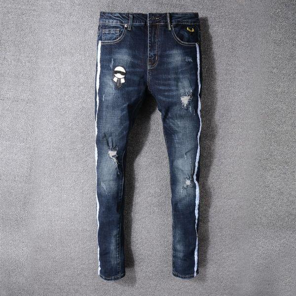 Новый шаблон отверстие джинсы для мужчин Мужской корейский издание тенденция прямая трубка брюки человек тонкий упругой силы досуг брюки