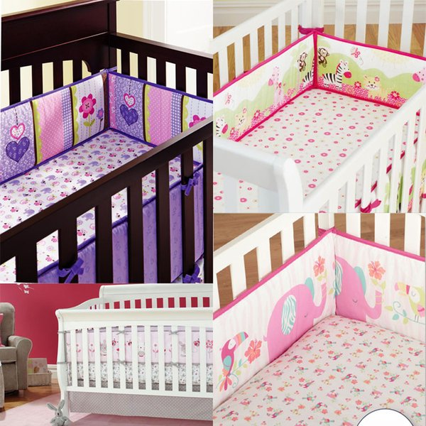 4Pcs Baby Bed Bumper Protector Baby Bedding Set Cot Bumper Newborn Crib Bumper Toddler Cartoon Bed Bedding in the Crib for Infant