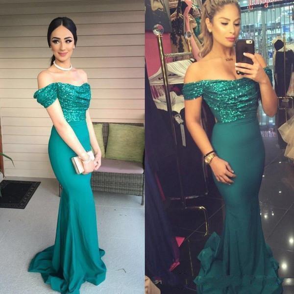 2019 старинные женские длинные блестками русалка пользовательские вечерние платья Vestido де феста плиссированные зеленые плеча арабский длиной до пола, выпускные платья