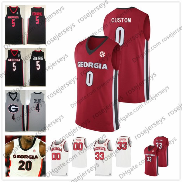 Custom Georgia Bulldogs 2020 Baloncesto Cualquier nombre Número Blanco Rojo Negro 5 Anthony Edwards 33 Nicolas Claxton 21 Wilkins UGA Dominique Jersey