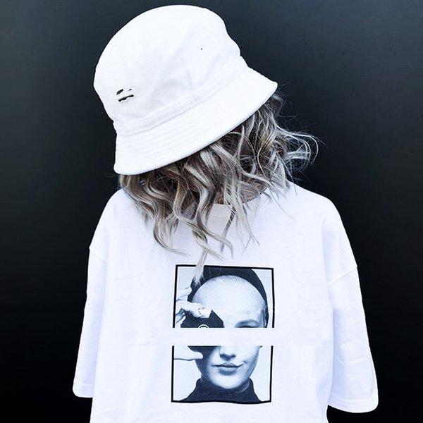 Verano nuevo diseñador camiseta 19ss parodia modelo femenino avatar Tee doble S modelo femenino avatar hombres y mujeres pareja manga corta S-XL