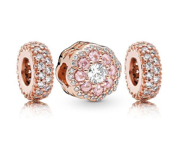Rau0593 Fanier 100% 925 Sterling Silver New 2019 Spring Bright Pink Flower Frizzy Charm Package Present Set Fit Diy Bracelet