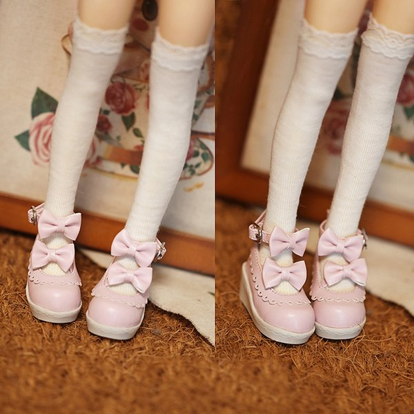 D01-P315 children handmade toy 1/4 1/3 Doll Accessories BJD/SD doll Sweet retro double bow lace dress shoes 1pair