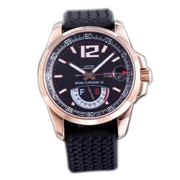 Best Edition Miglia GT XL 168457-3001 Rose Gold Real Power Reserve Black Dial ETA A2824-2 Automatic Mens Watch Black Rubber Strap New FK.e05