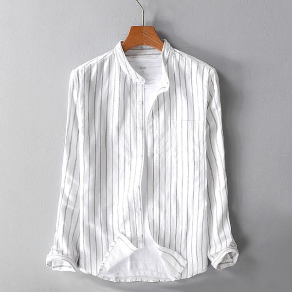 a8a152ddaa1cd16 Полоса льна рубашка мужская с длинными рукавами воротник стойка досуг  мужская рубашка новая мужская одежда белый