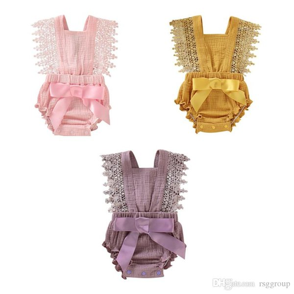 NEW Stylish Infant Baby Rompers Summer Design Girls Bow Lace Fly Sleeve Jumpsuits Toddler Outfits Cotton Bodysuits Baby Climb Clothing