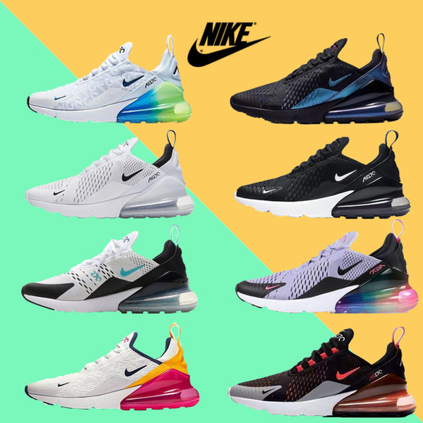 top popular Men Women 270 Max Running Shoes 27C Triple White Black Habanero Red Chaussures Medium Olive TN Airs Cushion new Sports sneakers Size 36-45 2020