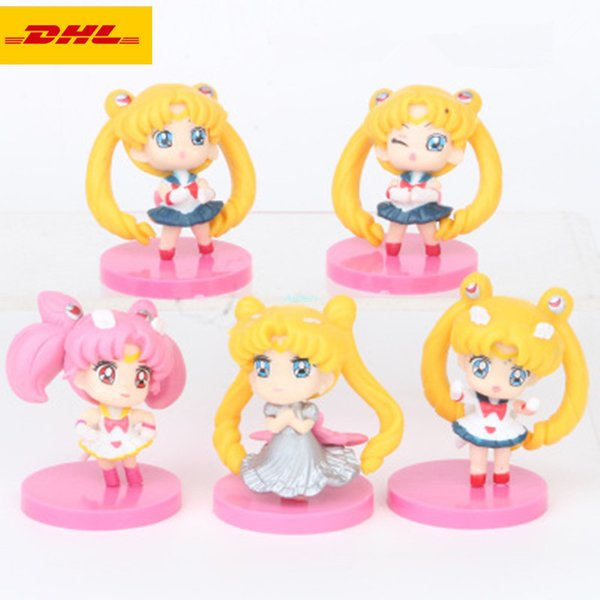 5 Pcs/set Sailor Moon Q Version Cartoon Birthday Gift Exquisite Cake Furnishing Articles PVC Action Collectible Model Toy 5CM OPP G22