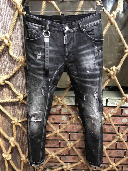 D2 Hombres Calientes Angustiados Rasgados Flaco Diseñador de Moda Motocicleta Delgada Moto Biker Causal Mens Denim Pantalones Hip Hop ICON Jeans largos # D807