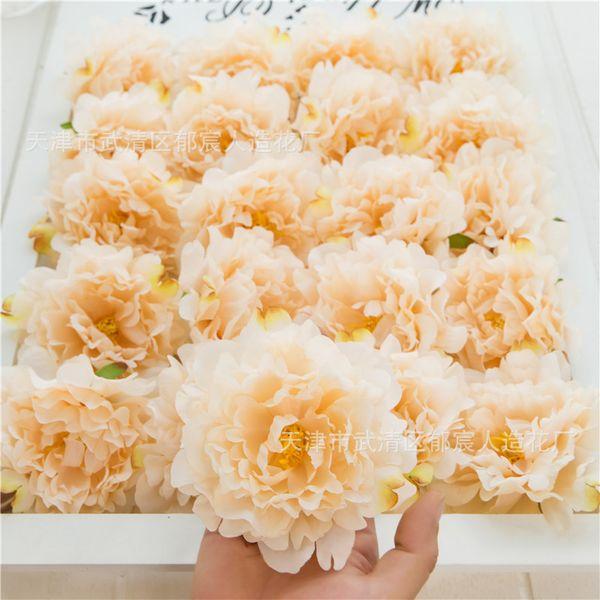 Cabeça de Peônia Artificial Decoração de Casamento DIY Grinalda Decorativa Falso Flor cabeças Queda Europeia Vivid Creme Tema da Festa de Aniversário Da Mesa Deco