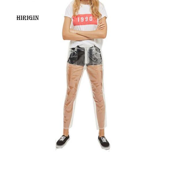 HIRIGIN 2018 Rare Hot Sale Transparent Jeans Waterproof PVC Plastic Jeans Trousers