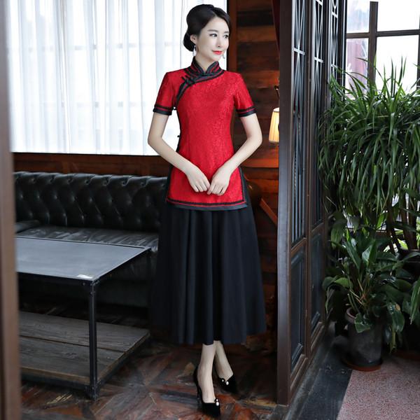 Vintage Chinese Blouse Skirt Sets Women Spring Lace Short Sleeve Shirt Mandarin Collar 2pc Clothing Summer Qipao Dress S-XXXL