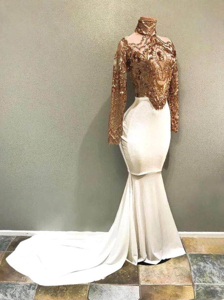 Sparkly Gold White Mermaid Prom Dresses High Neck Long Sleeves Sequins Lace Evening Dress Women Arabic Party Gowns