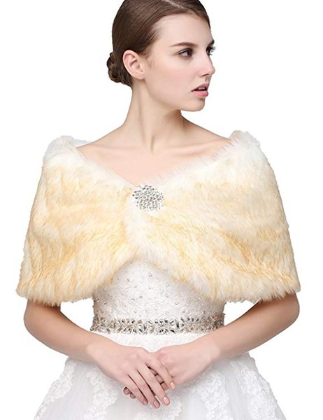 2019 Winter Fall Faux Fur Wrap Stole Shawl Shrug per donne 17012 Per Wedding Prom Wear Vendita calda a buon mercato