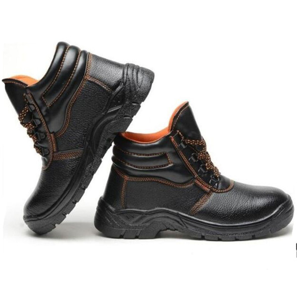 Plus Size Black Leather Safety boots Men Work Boots Men's Breathable Outdoor Shoes Men Spring Autumn Anti-slip Puncture Proof Safety Shoes