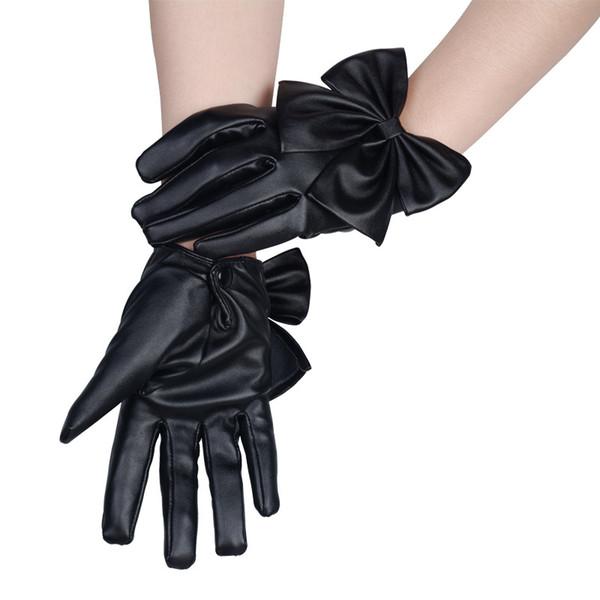Neue Mode Mittens Frauen Damen Solid Black PU Schmetterling Bogen Handgelenk Weiche Leder Winterhandschuhe Freien 6C2703